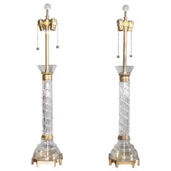 Pair of French Cut Crystal Table Lamps, circa 1930s