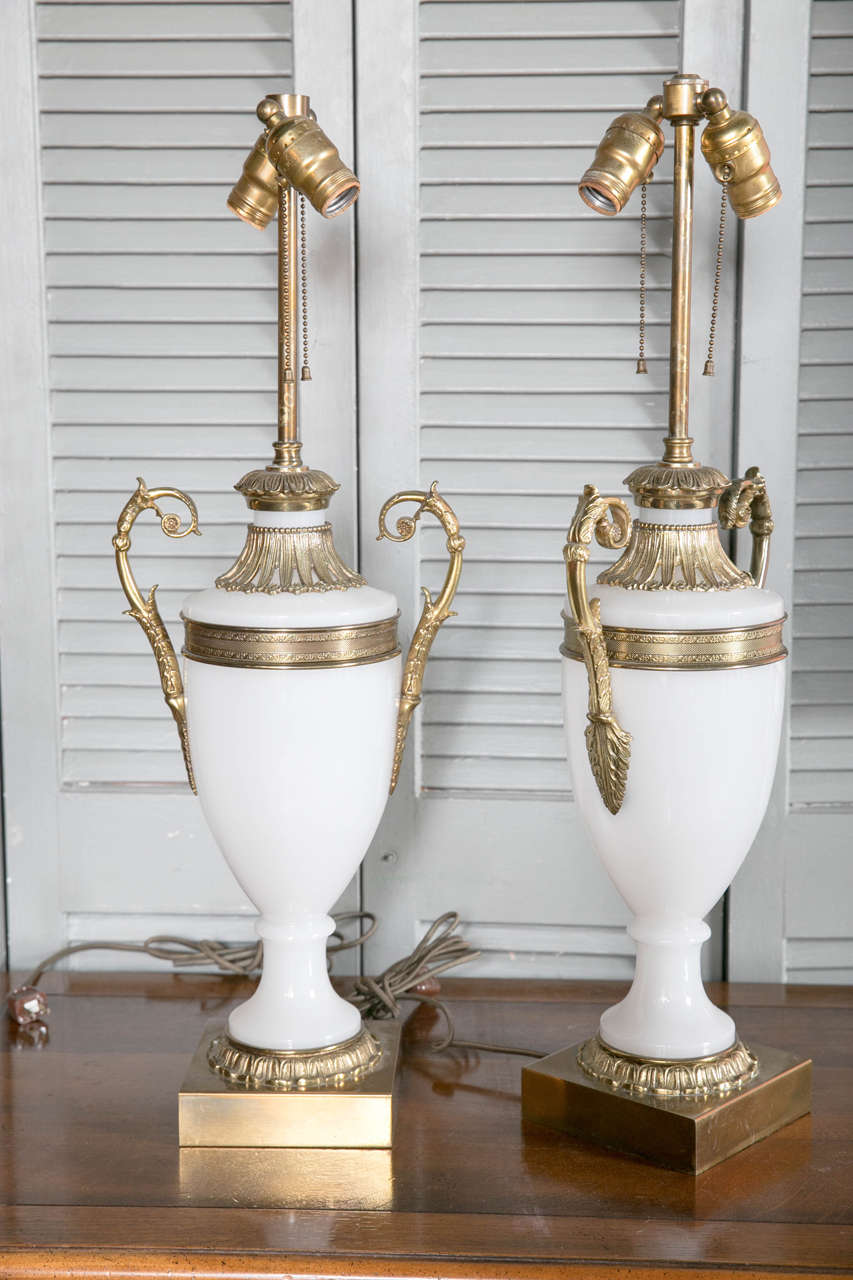 Pair of French Opaline Table Lamps, circa 1920s 2