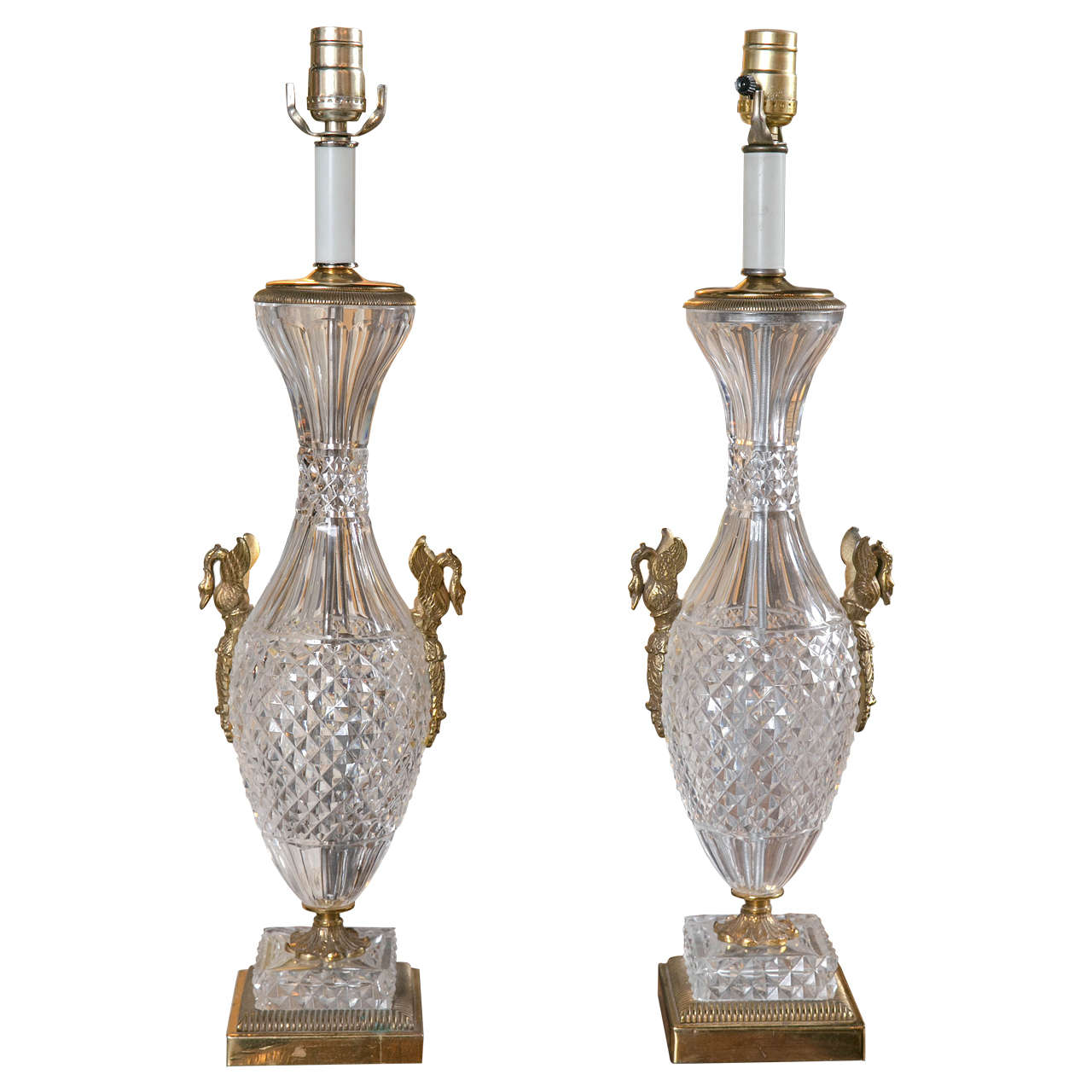 Pair of Baccarat Crystal and Gilt Bronze Lamps