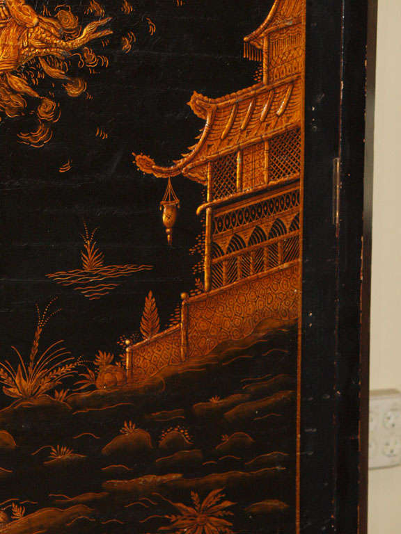Lacquer Antique French chinoiserie black lacquer armoire