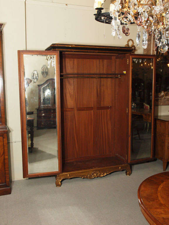 Antique French chinoiserie black lacquer armoire 5