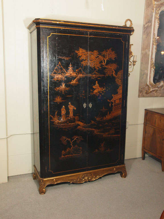 18th century French chinoiserie black lacquer armoire.