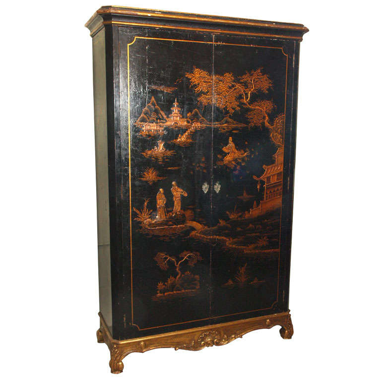 Antique French chinoiserie black lacquer armoire