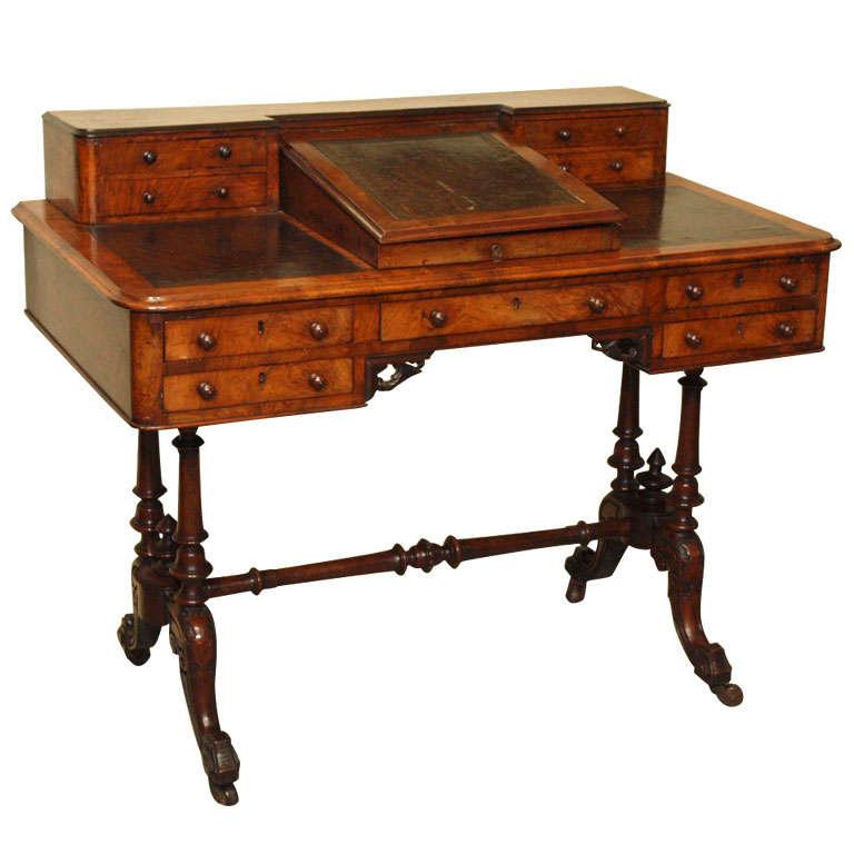 English Antique Writing Desks ~ Antique english burl walnut writing desk on stretcher base