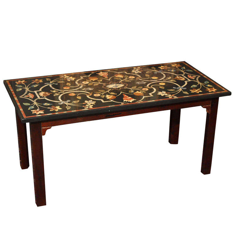 Antique Marble Top Coffee Table: Antique Italian Petra Dura Style Marble Top Coffee Table