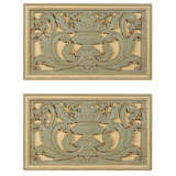 Pair of  French Painted Carved Wood  Architectural Panels