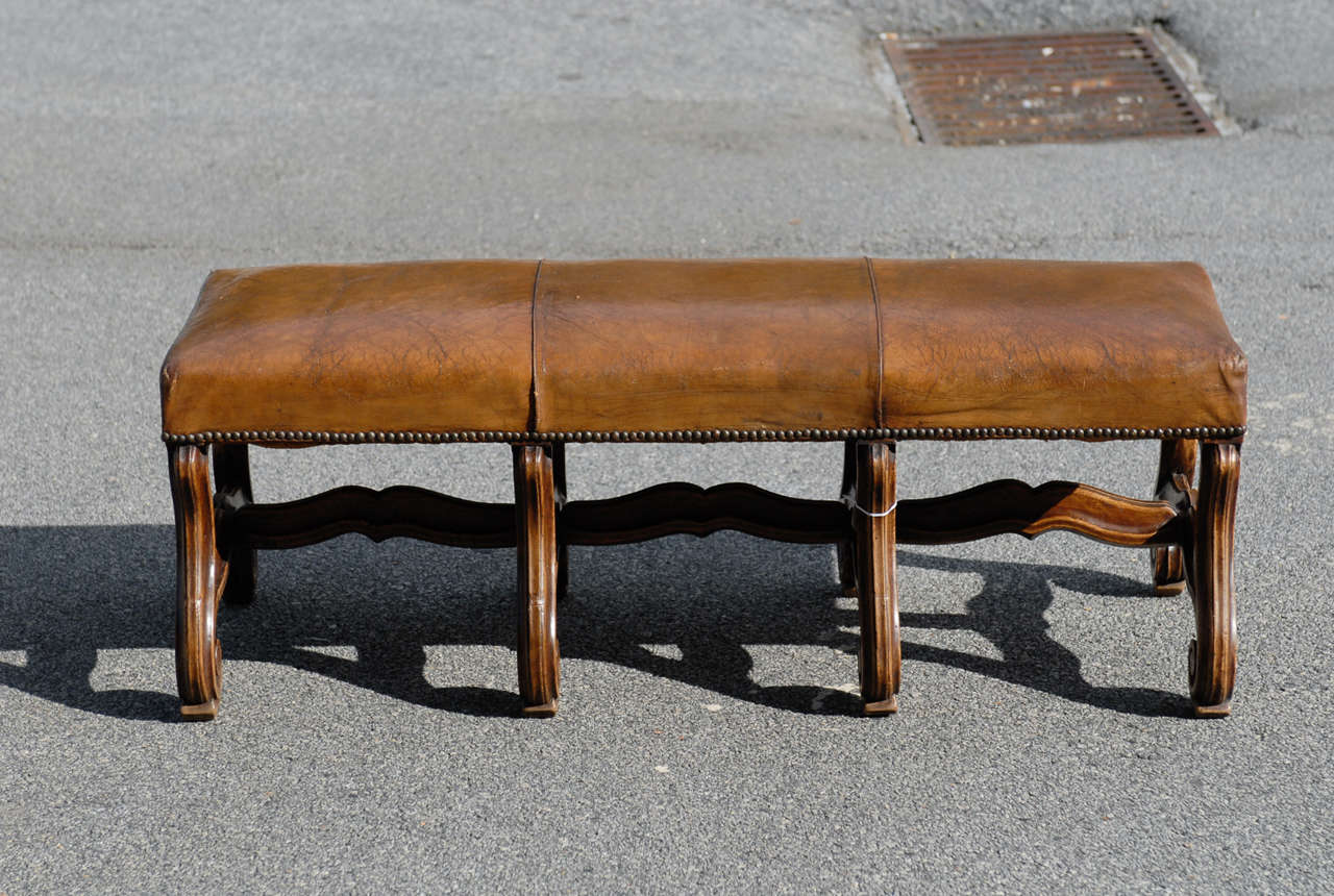 French Bench With Leather Seat At 1stdibs