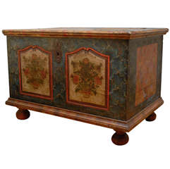Austrian Bohemian 1840s Blue Painted Trunk with Jigsaw Patterns and Flowers
