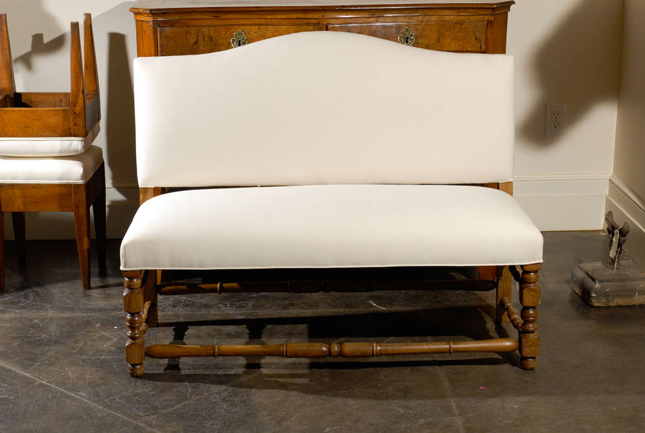 Picture of: French Upholstered Bench With Back At 1stdibs