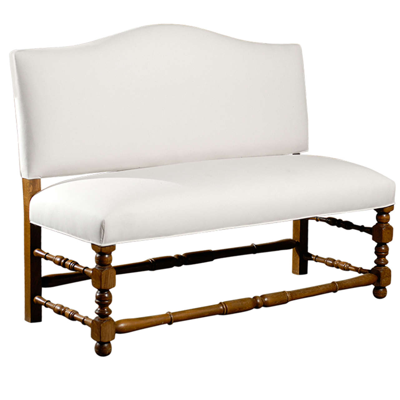 french upholstered bench with back at stdibs - french upholstered bench with back