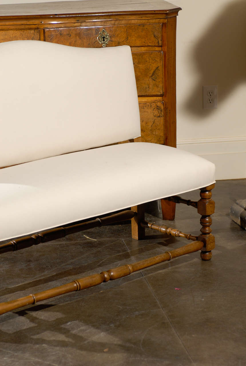 French Upholstered Bench With Back Image 4
