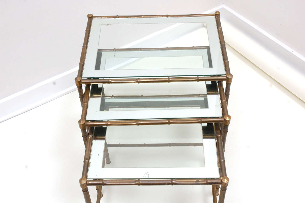 Set Of 3 Glass Tables: Set Of Three Italian Faux Bamboo Brass And Glass Nesting