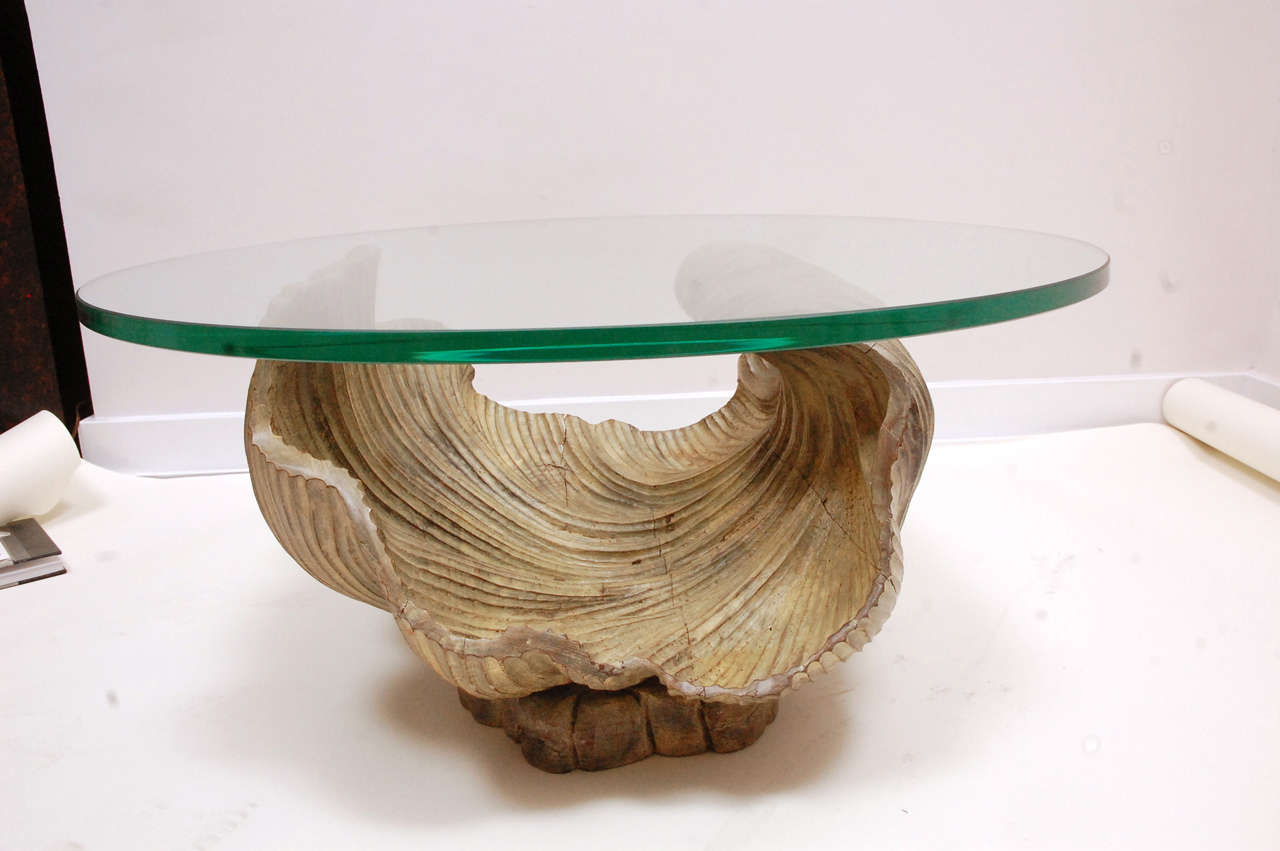 Carved wood shell cocktail table with glass top for sale for Wood and glass cocktail tables