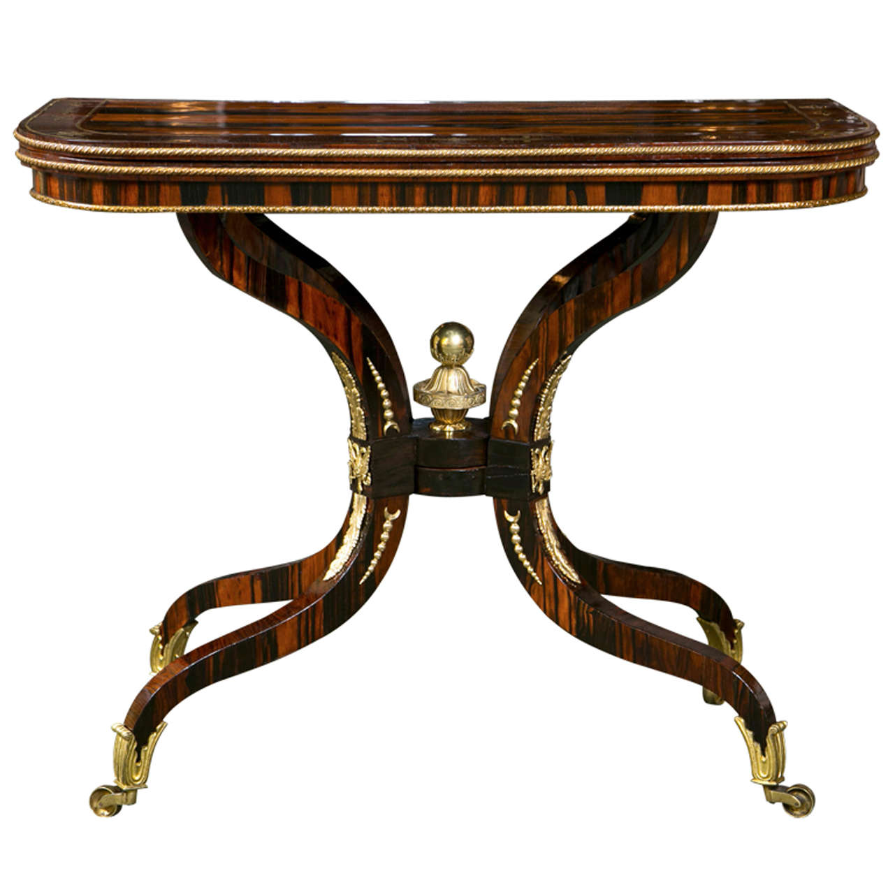 Regency Brass Inlaid Games Table