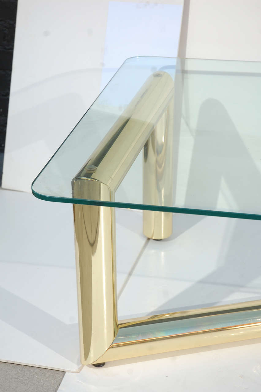 Tubular brass glass coffee table attributed to karl springer image 4 - The tubular glass house ...