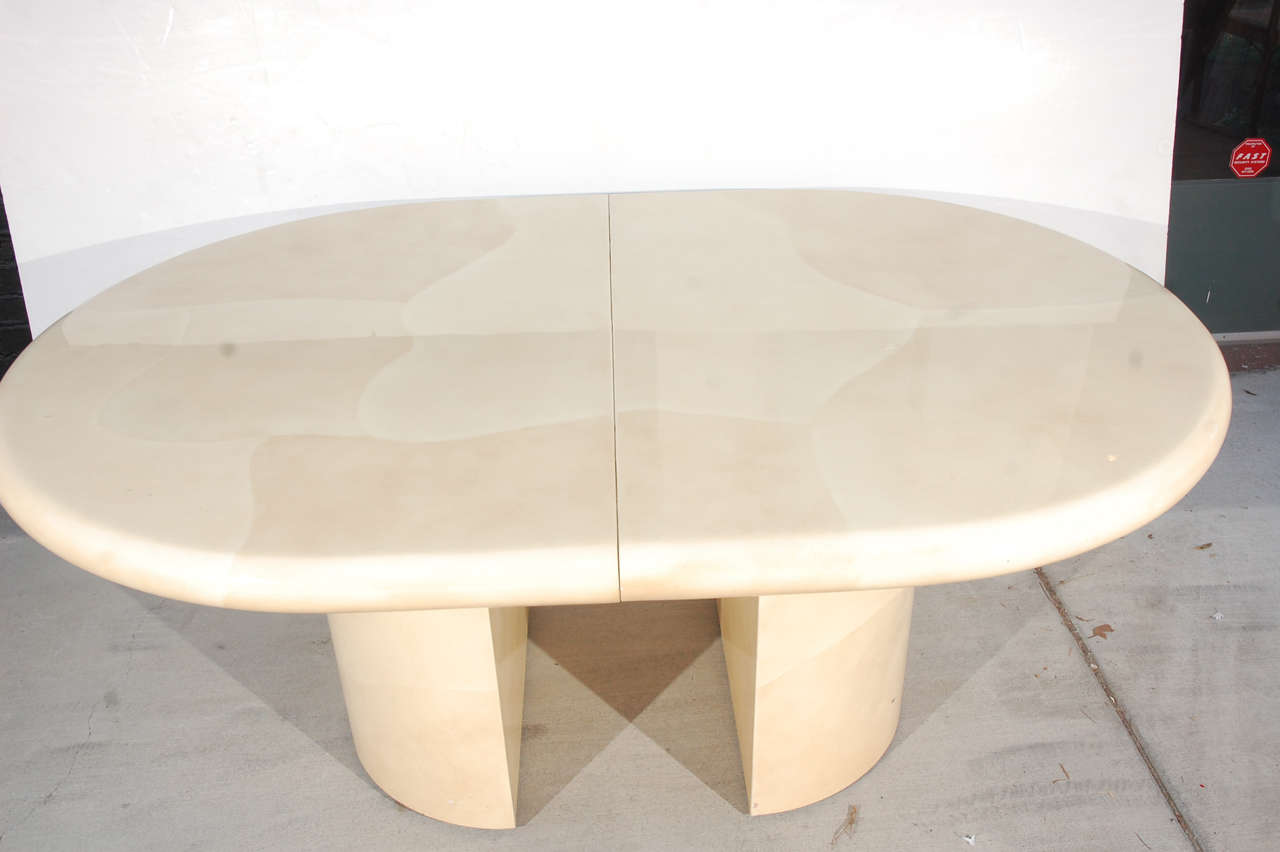 Karl Springer Style Faux Goatskin Dining Table For Sale At