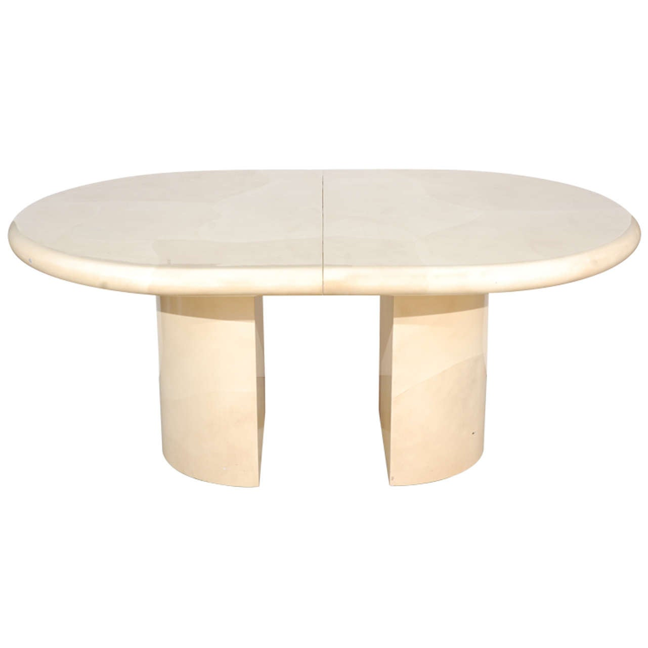 Karl Springer–style faux goatskin dining table, 1970s