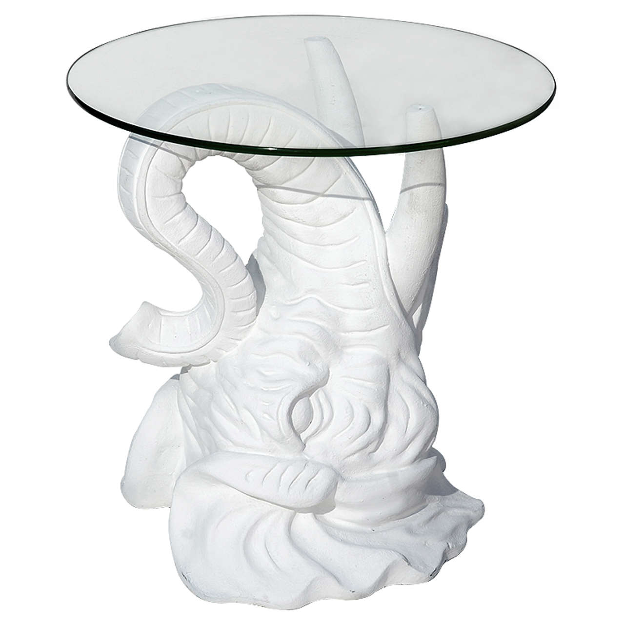 White Plaster Elephant Side Table For Sale At 1stdibs