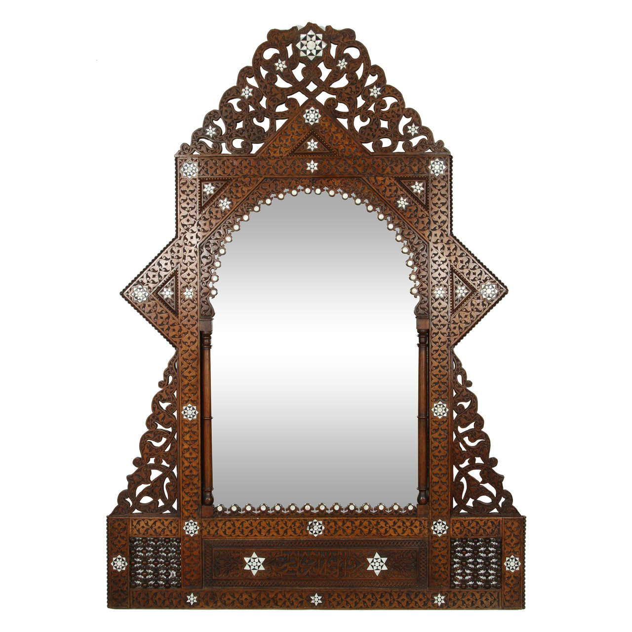 Antique 19th Century Syrian Damascus Mirror With Mother Of Pearl For