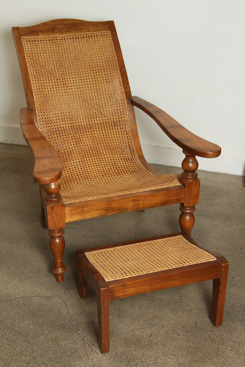 Teak plantation chair - Anglo Indian Plantation Chair And Ottoman 3