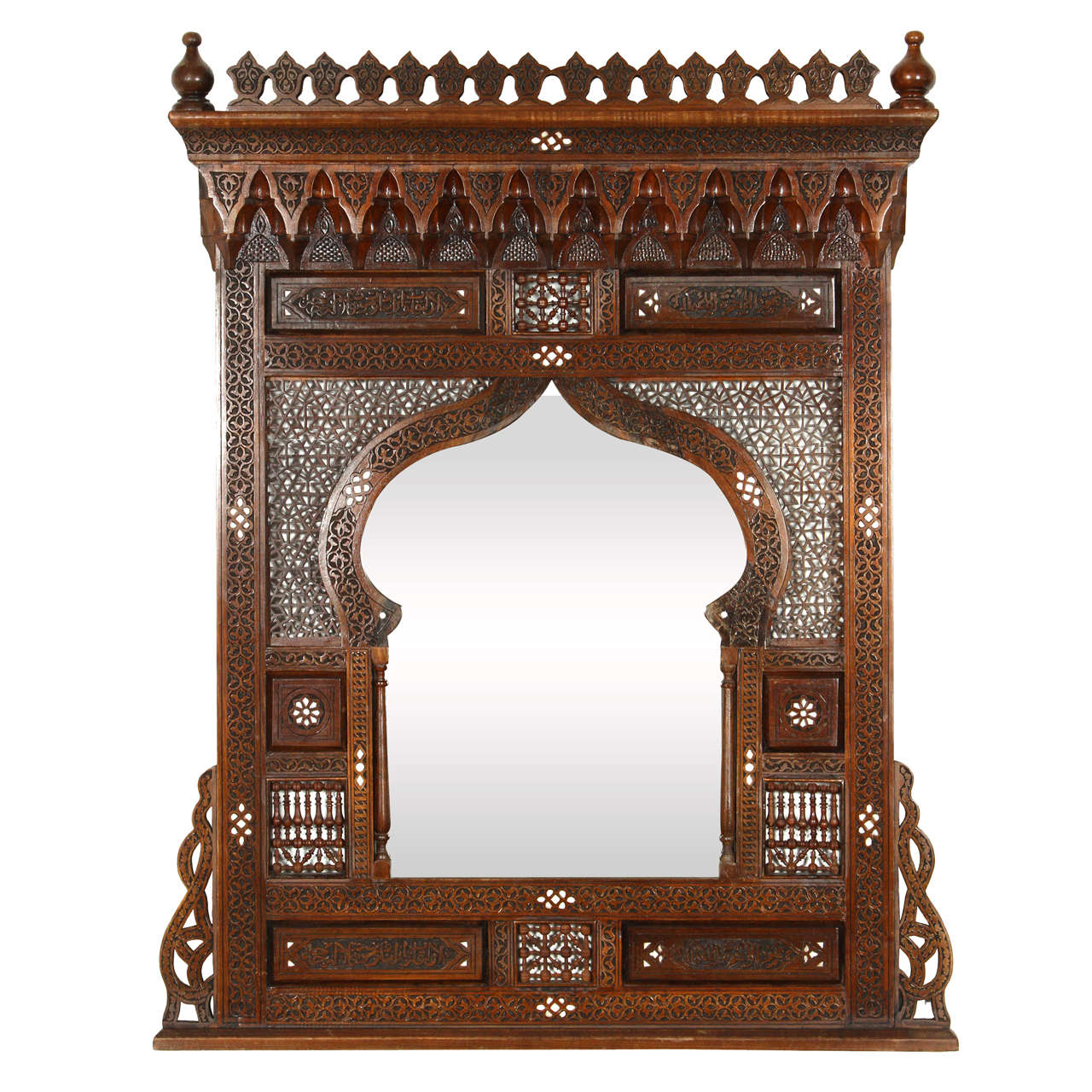 Amazing Large Middle Eastern Syrian Mirror Inlaid With Mother Of Pearl 1