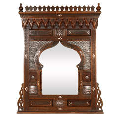 Large Middle Eastern Syrian Mirror Inlaid with Mother of Pearl
