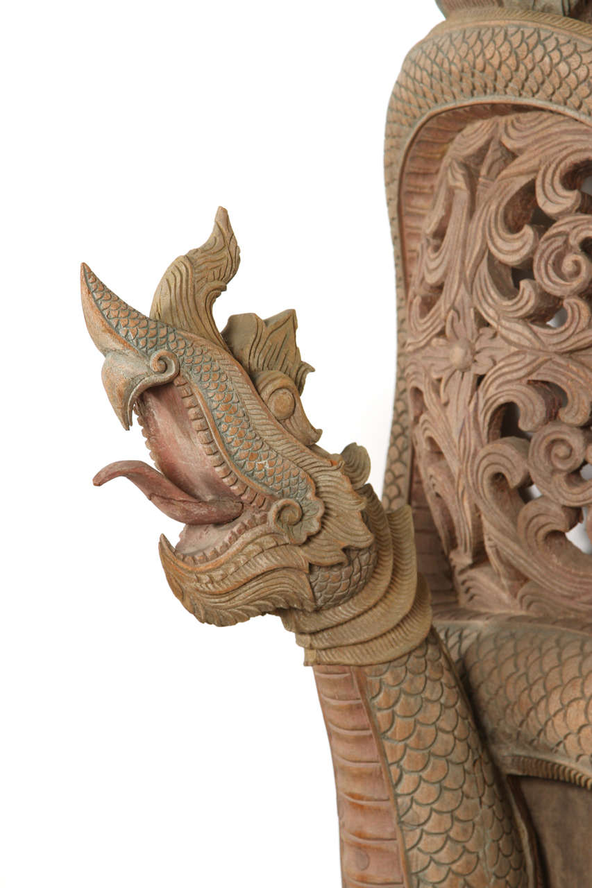 Indonesian Asian Thai Sculpture of Fertility Deity and Dragon For Sale