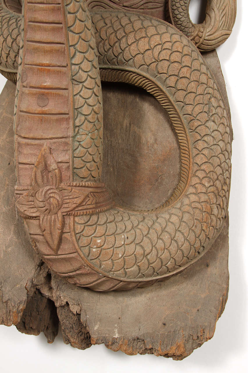Hand-Carved Asian Thai Sculpture of Fertility Deity and Dragon For Sale