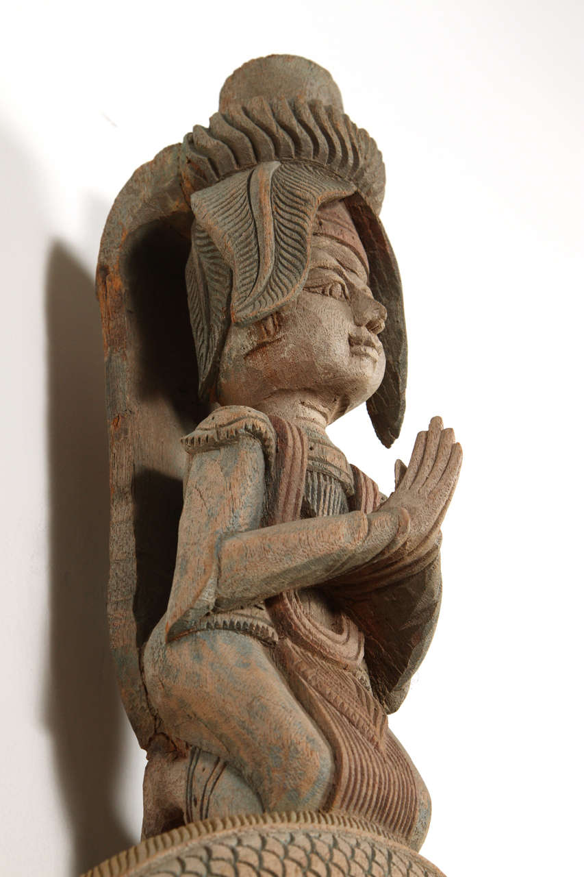 Asian Thai Sculpture of Fertility Deity and Dragon For Sale 1