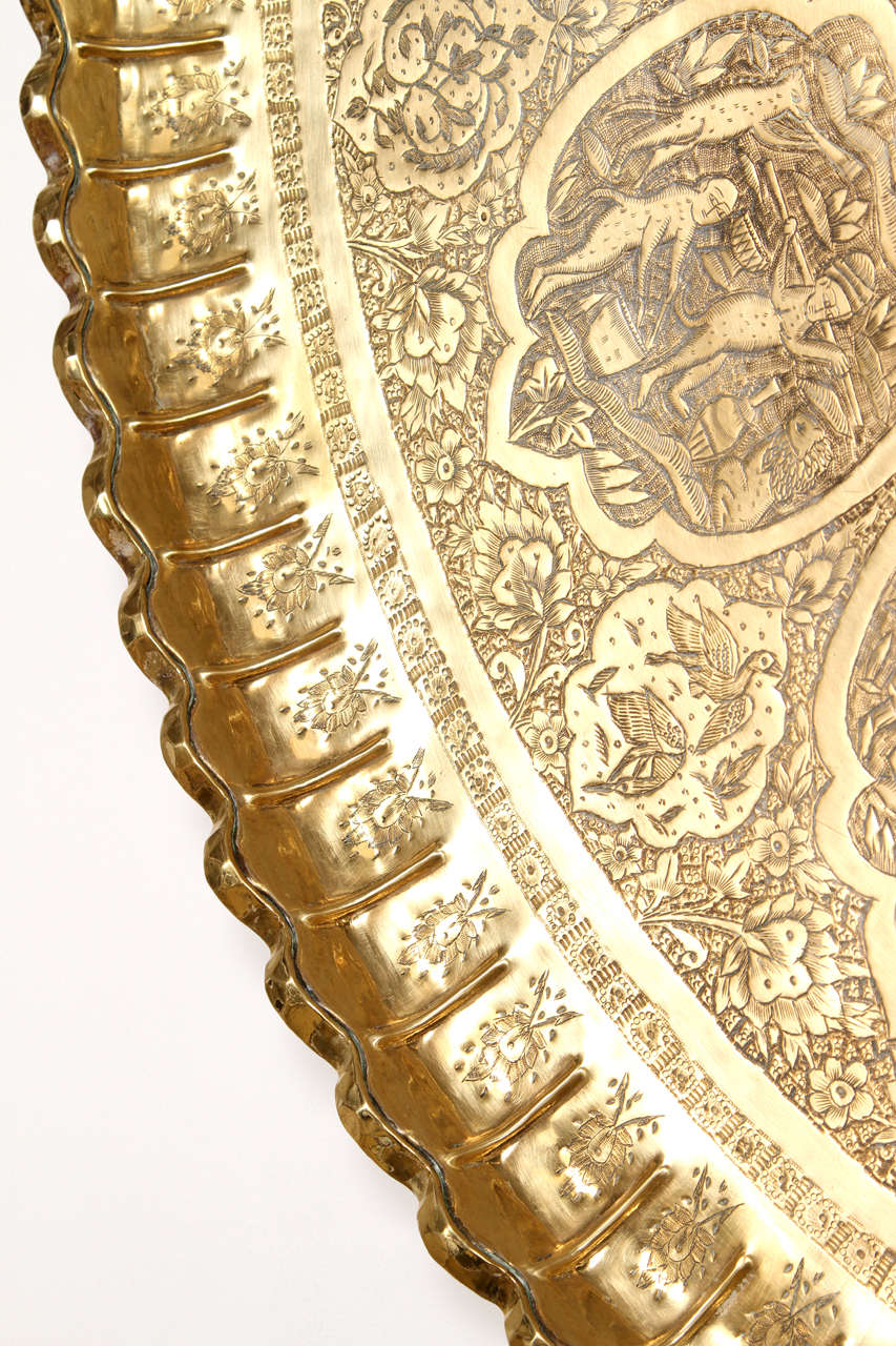 Large Persian Antique Brass Tray At 1stdibs