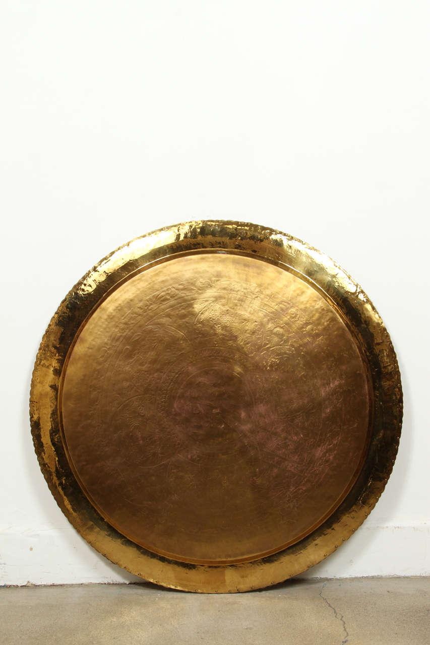 large chinese imports polished brass tray circa 2