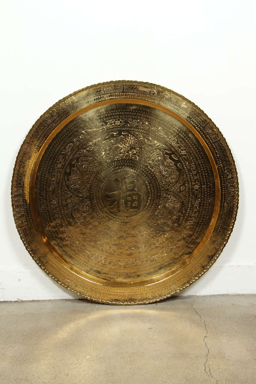 Large Chinese Imports Polished Brass Tray, circa 1950 3