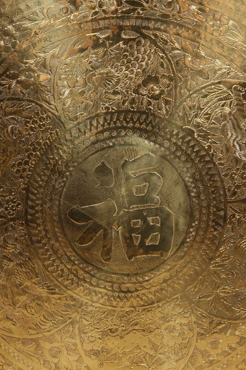 Large Chinese Imports Polished Brass Tray, circa 1950 4