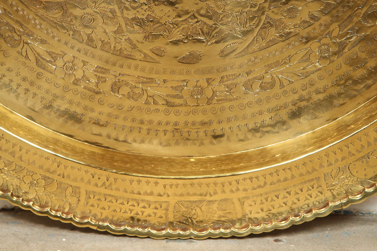 Large Chinese Imports Polished Brass Tray, circa 1950 7
