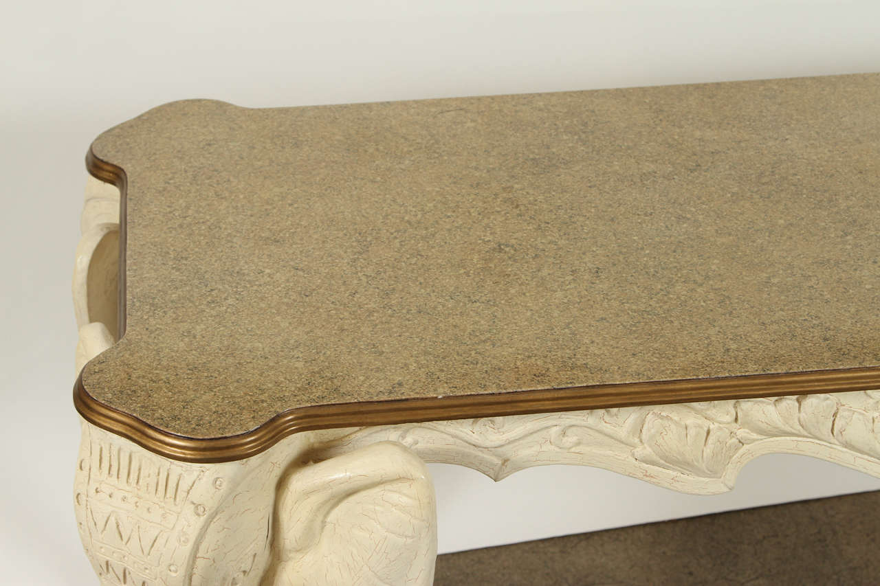 Anglo Indian Vintage Elephants Carved Console Sofa Table