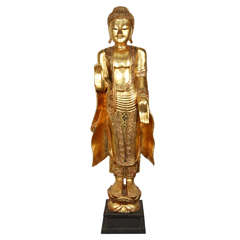 Gilded Figure of a Thai Standing Buddha