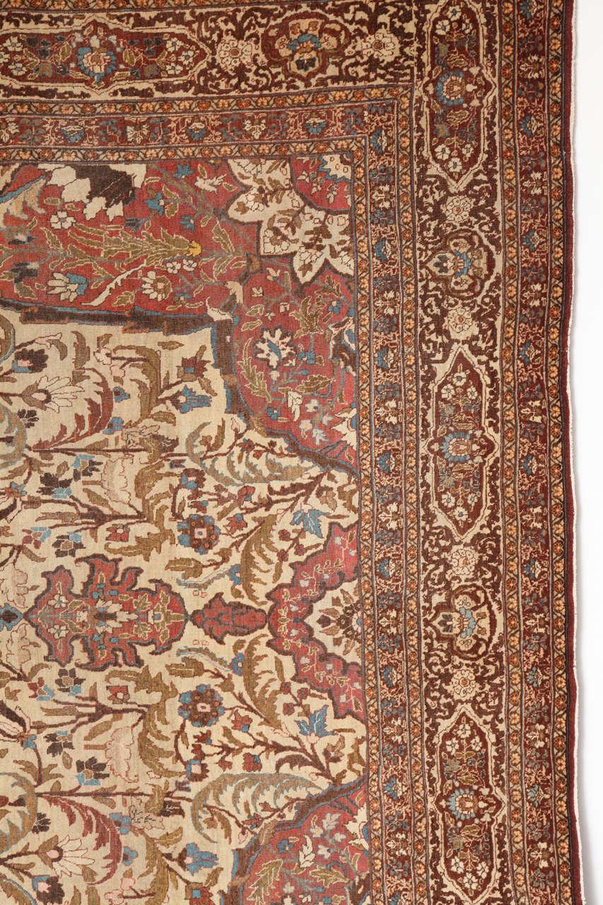 Vegetable Dyed Persian Haji Jalili Tabriz Carpet, circa 1880 For Sale