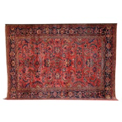Persian Lilihan Carpet with Afshan Design in Wool and Natural Dyes, circa 1910