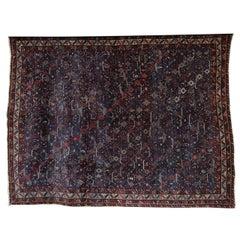 Persian Qashqai Carpet circa 1880 in Pure Handspun Wool and Natural Vegetal Dyes
