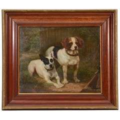 19th Century Oil on Board Dog Painting by C M R Schreiber