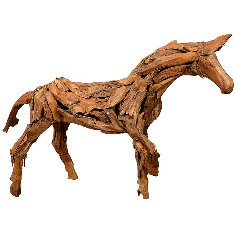 Vintage Folk Art Handmade Wooden Horse Sculpture At 1stdibs