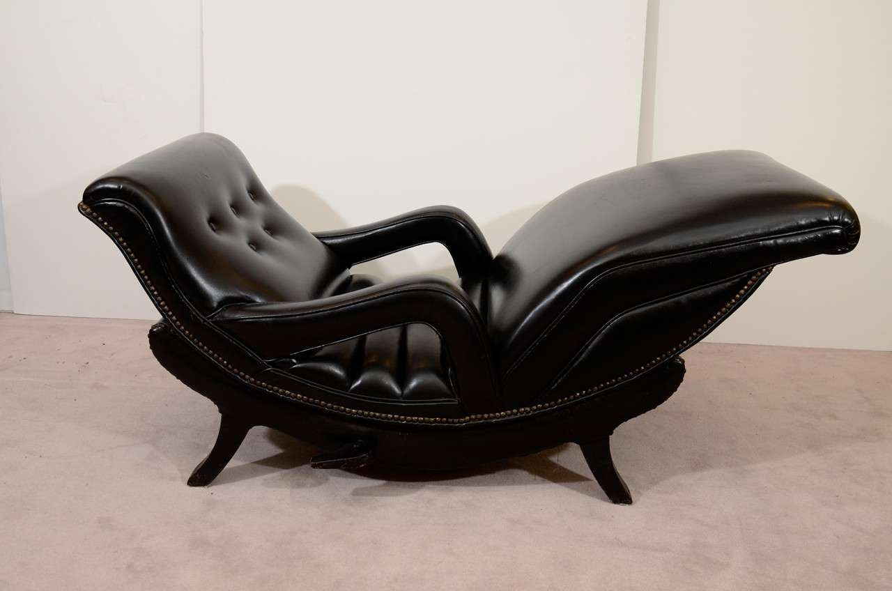 Mid Century Reclining Chaise Lounge in Black Leather at 1stdibs