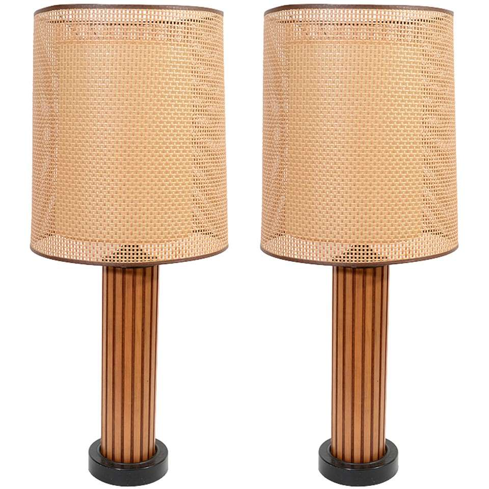 pair of mid century circular wood and ratan table lamps at 1stdibs. Black Bedroom Furniture Sets. Home Design Ideas