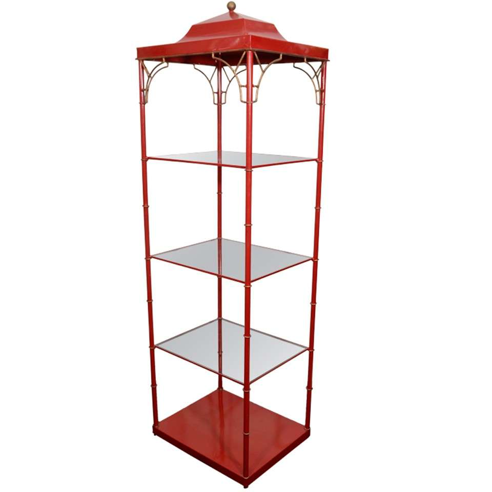 mid century red lacquered metal pagoda style etagere at 1stdibs. Black Bedroom Furniture Sets. Home Design Ideas