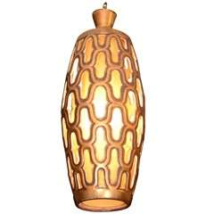 Mid Century Gilt Metal Cylindrical Lantern