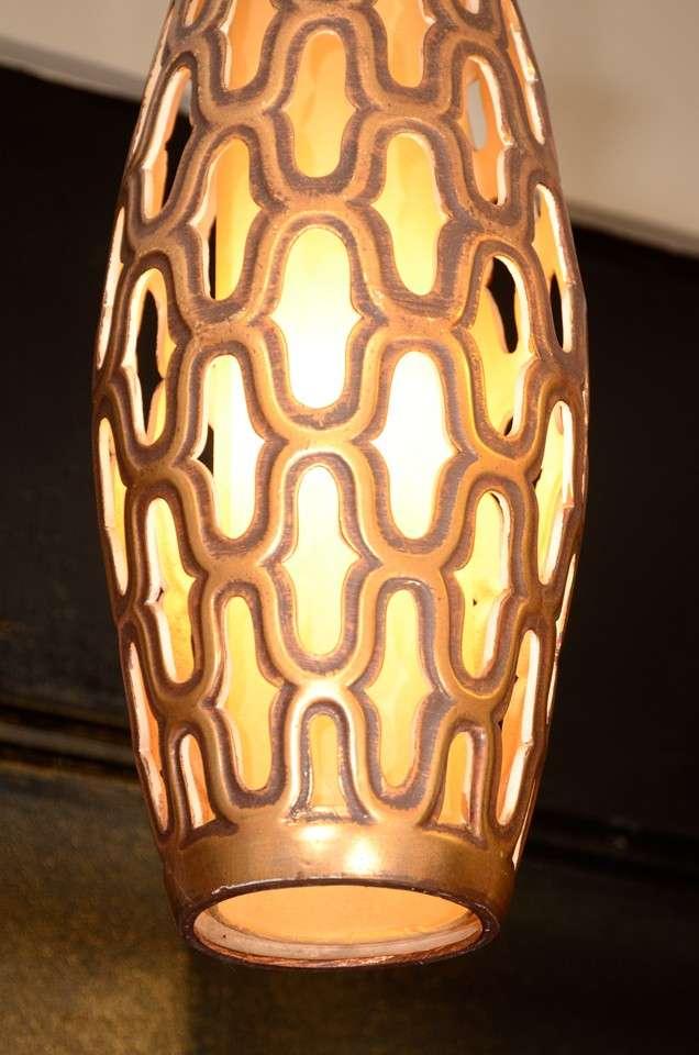 Mid-Century Modern Mid Century Gilt Metal Cylindrical Lantern For Sale