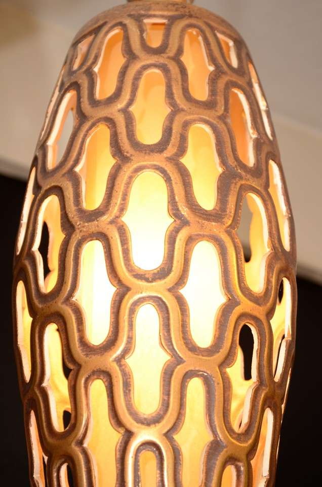American Mid Century Gilt Metal Cylindrical Lantern For Sale