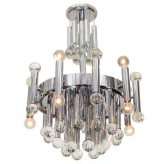 Sciolari Chandelier in Chrome with Murano Glass