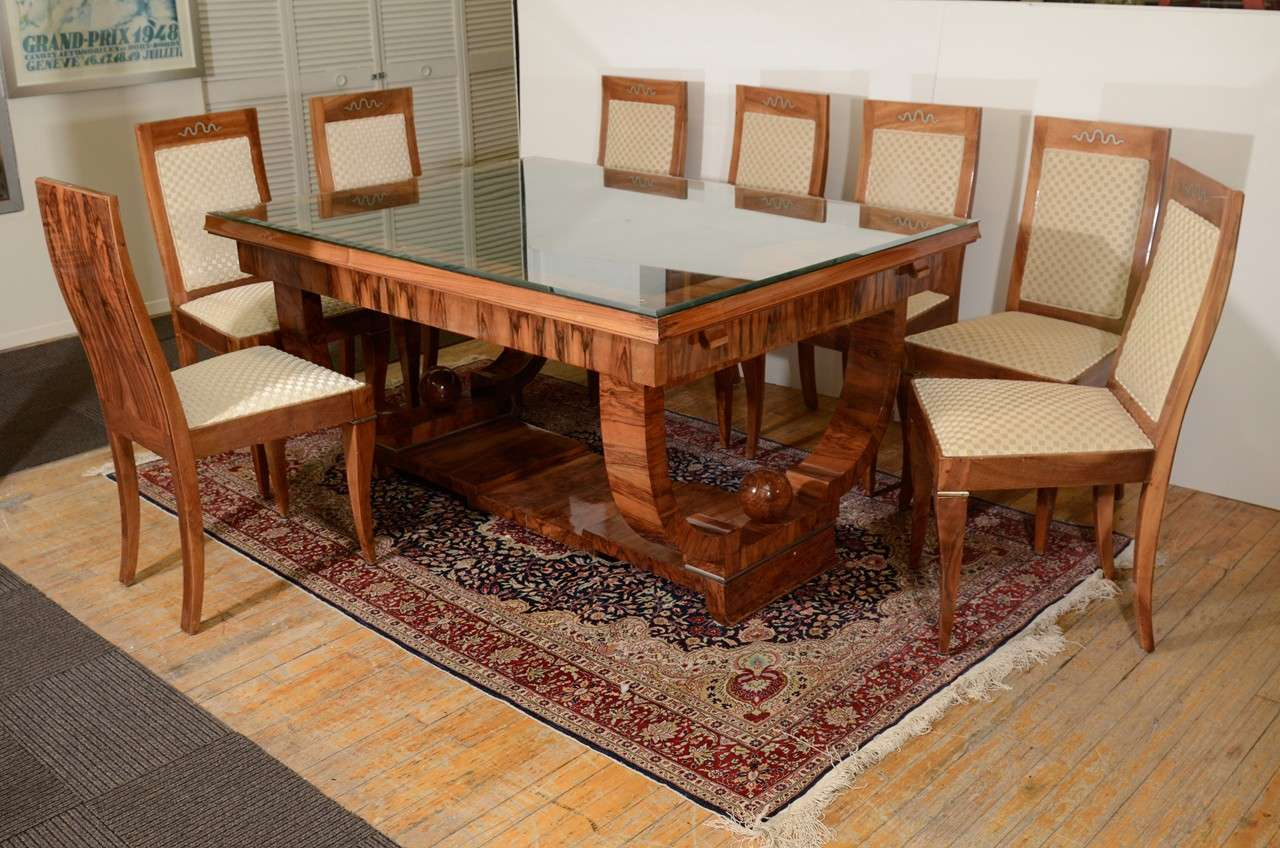 french art deco walnut dining set with eight chairs 2 art deco dining set