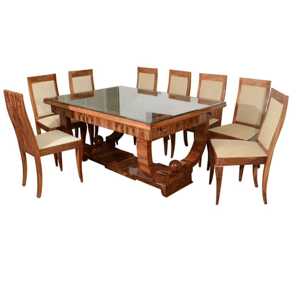 Modern french dining chair - French Art Deco Walnut Dining Set With Eight Chairs 1